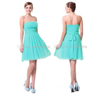Cheap Cheapest Simple Mint Green Homecoming Dresses with Strapless Ruched Chiffon A Line Low Back Knee Length 2014 Short Prom Dress Under 50 $