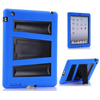 Wholesale 3 in Robot Stand Case Impact Rugged Heavy Duty silicon PC Hybrid Shock Proof Cover Cases For ipad min order color