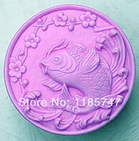FDA Cake Moulds Silicone Rubber Free shipping chinese style carp design handmade silicone soap mould ,candle soap mould ,fondant silicone mould ,cake mould