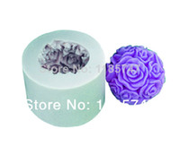 FDA soap mold Silicone Rubber Free shipping 2014 hot selling 3D rose ball handmade silicone candle mold ,silicone soap mold ,silicone cake mold ,silicone molds