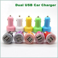 Wholesale 2 A mha USB Dual Car Charger V Dual Port car Chargers for iPad iPhone S iPod iTouch HTC Samsung