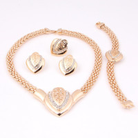 African indian jewelry - Fashion necklace set gift for Women african costume party Gold Plated dubai jewelry set heart latest indian bridal wedding accessories