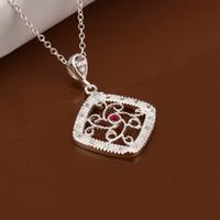 Cheap New Diamond Flower Square Pendant Necklace 10pcs 925 silver Jewelry
