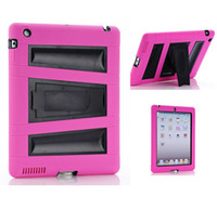 Wholesale 3 in Robot Stand Case Impact Rugged Heavy Duty silicon PC Hybrid Shock Proof Cover Cases For ipad J