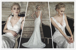 2014 New White Ivory Lace Deep V Neck Sleeves Sexy Backless With Long Lace Train Bridal Gown Wedding Dress
