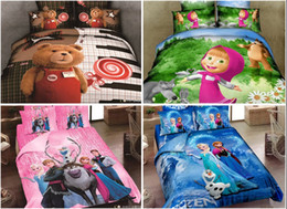 Wholesale 14 color HOT Pure cotton Frozen Princess Elsa Anna adult Kids Cartoon Bed Piece suit Comforter Set Cotton Frozen A48 set