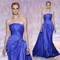 Cheap Zuhair Murad 2015 New Fashion Royalblue Evening Dresses Taffeta Ruffled Strapless Asymmetrical Court Train Bridal Party Celebrity Gowns
