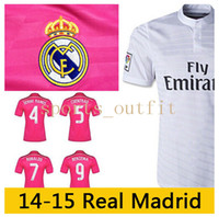 Wholesale Top Thai Quality Reals Madrid Home White Soccer Jersey RONALDO Discount Away Pink Jersey James Football Shirts for Men