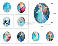Wholesale 13x18mm Frozen Necklace Elsa Anna Princess Flatback Cameo DIY Decoration Photo Oval Glass Cabochon Beads Image Glass Diamonds Pendant