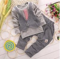 Cheap New hot sale Baby Suit Korean False 2pcs Waistcoat Tshirt + Pants Toddler Boy Casual Set 0-4Age Kids Clothes Set Party Wear