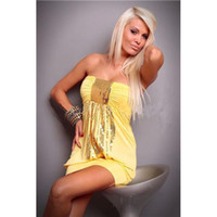 Wholesale Yellow Lingerie Set Sexy strapless Wrap shiny chest Seductive spaghetti strap Queen of clubs High Stretchy Underwear