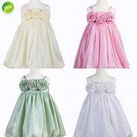 Cheap Adorable Spaghetti Straps Handmade Flower Ball Gown Flower Girls' Dresses Cheap Dresses for Little Girls Pageant Dresses Free Shipping