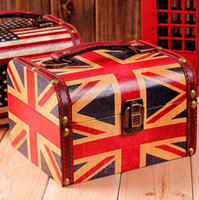 hand painted jewelry box - Retro British style hand painted jewelry box suitcase creative British Union Jack flag American flag two LS