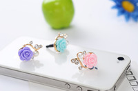 Wholesale Resin flower anti dust plug iphone s iphone4 cell phone accessories mobile phone dustproof plug