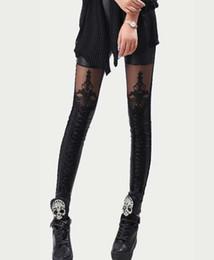 Wholesale Fashion Sexy Women Rock Punk Armor Corset Lace Leather Black Ankle Leggings Tights Pants