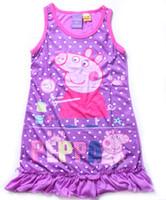 Cheap 2014 New style Children's Pajamas girl PEPPA PIG night skirt sleepwear pajamas kids pyjamas 2-6T 7pcs lot kids clothing girl skirts