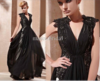 Chiffon Sleeveless Floor-Length 2015 New Elegant Black Appliques Lace Formal Evening Dresses Prom Gowns With Deep V Neck A-line Chiffon Short Cap Sleeves Beadings