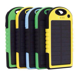 Wholesale 5000mAh Solar Charger and Battery Solar Panel portable power bank With Flashlight waterproof shockproof Factory Offer