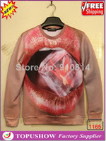 Wholesale Moletons Feminino Sweatshirt Novetly D Lips Animal Sweaters Men Space solid Print Tops Couple Hoodies For Party