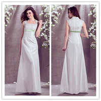 Cheap 2014 Square A-Line Wedding Dress Floor-length Sleeveless Zipper Taffeta And Stretch Satin Ribbon Lace Fashion Modern Beach Wedding Dresses