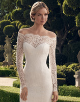 short sleeve wedding gowns - Fast Delevery Knee Length Lace Long Sleeve Scalloped Off Shoulder See Through Sheath Corset Wedding Gown Short Wedding Dresses
