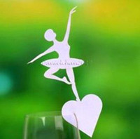 wedding place card holders - 120pcs Laser Cut dancing girl shaped Place Card number holder Wine Glass Card Wedding party table Decoration wd127