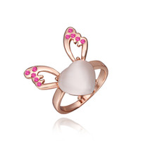 Cheap Fashion New Exquisite 18K Rose Gold Plated Heart White Opal Rose Swarovski Crystal Moth Ring For Women #8 Wedding Gift Ring 18R475