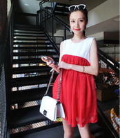 Wholesale Maternity Supplies Maternity Patched Dresses Pregnant Woman Tank Cotton Dressy Korean Style Party Ornaments Red Blue High Quality M0516