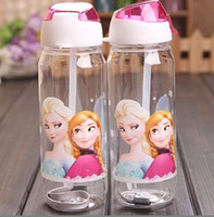 Wholesale Children Water Cup Cartoon Frozen Elsa Anna PP Texture Suction Cup with drinking straw water bottle
