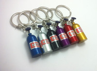 Wholesale Creative New NOS Mini Nitrous Oxide Bottle Keyring Key Ring Keyfob Stash Pill Box Storage Turbo Keychain