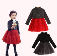 Wholesale 2014 Autumn Korean Girl Lace Gauze Long Sleeve TuTu Dress Children Splicing Princess Dress Phelfish Kids Baby Clothing S0723
