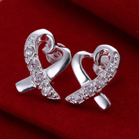 Wholesale cheap factory price Beautiful fashion a sterling silver cute pretty Lady HOT CZ noble crystal stud earring jewelry