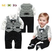 Boy Spring / Autumn Cotton Blends 2014 Autumn Gentleman Baby Boy Clothes Cotton Bowtie Boys One-Piece Romper Suit Long Sleeve Shirt+Waistcoat Black Boy Clothes K0364