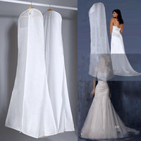 Wholesale New All White No Logo Cheapest Wedding Dress Gown Bag Garment Cover Travel Storage Dust Covers Bridal Accessories For Bride