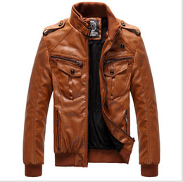 Wholesale Men s Locomotive Leather PU Jacket Coat Thickening Fur Outerwear Slim Winter Jacket Brown M XXXL
