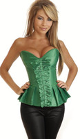 Wholesale Sexy Green Corset Skirt - 4 colors-new Sexy Strapless Pleated Burlesque Skirted Corset with thong;AB973,S M L XL Mix sell