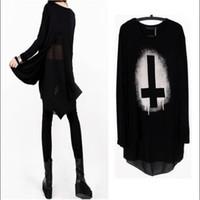 Cheap HOT Punk Women Loose Blouse Cotton+Chiffon Tees Black T-shirts Tops Vintage Cross Printed Long Sleeve Clothing Shirts 851219