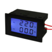 Wholesale 5 Blue LCD Double Display Ampere meter Voltage meter AC V A in1 Voltmeter Ammeter Current transformer