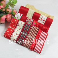 anchor satin ribbon - meters Red Series Printed Grosgrain Ribbons Mixed Grid Anchor Satin Grosgrain Ribbon Set lace hair bow material