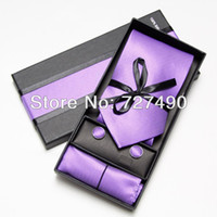 Wholesale mens tie and handkerchief set fashion men ties sets cufflinks hanky pocket square in box necktie