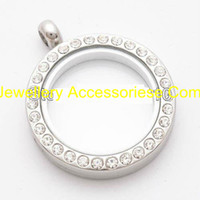 floating charm locket - 5PCS mm floating locket Silver Round magnetic glass floating charm locket Zinc Alloy Rhinestone chains included for free