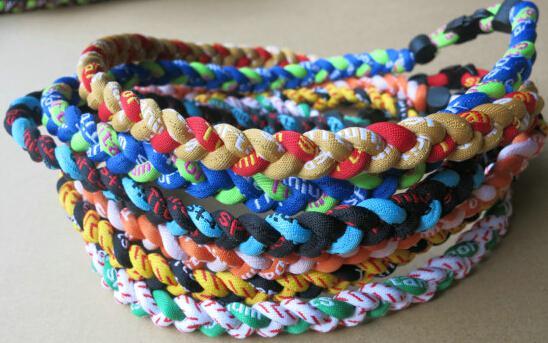 Whole ale 100pc via dhl titanium 3 braided necklace 3 rope titanium necklace tornado port necklace 20 quot 22 quot 50 color