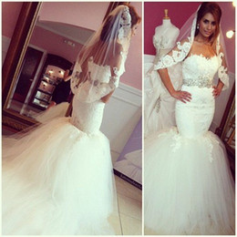 Luxury Lace Wedding Dresses Backless Beach Bridal Gowns 2019 Mermaid Sweetheart Appliques Beaded White Fluffy Tulle Sashes Wedding Gown