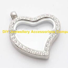 Aleación flotante de cristal magnética del Rhinestone del encanto del corazón de plata 5PCS 30m m + envío libre del Rhinestone (cadenas incluidas para libre)