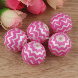 Wholesale New mm New Hottest Solid Zig Zag Chevron Print Resin Chunky Beads Acrylic Beads for Kids Jewelry Coral Y01