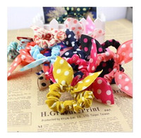 Hair Bows   30 Pcs Wholesale New Fashion Bunny Ear Cloth Color Women Ponytail Holder Elastics Rings Girls Hair Ties Band Accessories