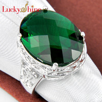 Wholesale fashion gem jewelry silver plated Green amethyst Sky Blue topaz for women novelty round crystal rings R0381