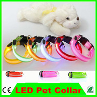 Wholesale 200pcs Hot Pet Dog Cat LED Glow Collar Nylon Electric Training Collars Products for Dogs Blue Pink Green Red size S M L