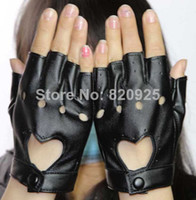 Wholesale New Fashion Women Faux Leather Fingerless Punk Motorcycle Gloves Black Half Finger PU Pole Dance Show Gloves Hot Selling