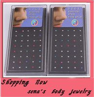 Wholesale mixed Nose Studs body jewelry piercing Nose Rings b0x